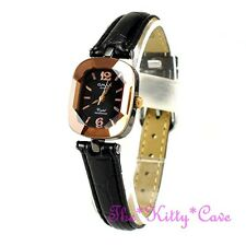 Omax señoras hematites Pl Seiko Movt corte de vidrio mineral de cobre de reloj de cuero cn7796