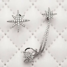 Punk Gothic Snowflake Rhinestone Sliver Clip Ear Cuff Wrap Stud Women Earrings