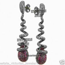 4.12Cts Rose Cut Diamond Silver Ruby Vintage Spiral Long Drop Jewelry Earring