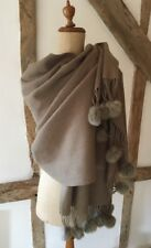 100% WOOL SHAWL/ WRAP SCARF WITH FUR POM POM TRIM IN KHAKI/BEIGE.