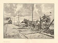 Horse & Carriage, Buggy vs Train, Danger, Vintage 1894 German Antique Art Print