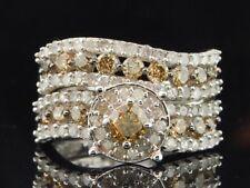 Ladies 10K White Gold Brown Champagne Diamond Engagement Ring Wedding Bridal Set