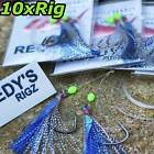 10 Snapper Rigs Tied PPB Flasher Rig Paternoster Running Snell Mulloway Bait 60