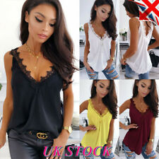 Womens Lace V Neck Vest Tops Ladies Sleeveless Blouse Summer Cami T Shirt Tee 16