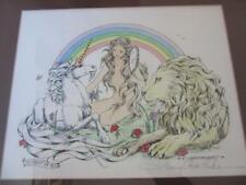 NANCY CHIEN ERIKSEN 1978 FRAMED ART FAIREST OF ALL UNICORN LION GIRL SIGNED