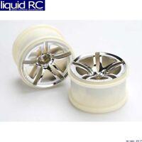 Traxxas 5572 Rear Twin Spoke Wheels 2.8 Chrome Jato (2)