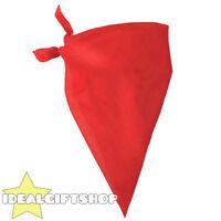 RED PLAIN BANDANA NECKERCHIEF COWBOY WESTERN FANCY DRESS COSTUME ACCESSORY