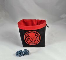 Red Cthulhu Ring Dice Bag - Square Base Reversible Drawstring Tile Pouch RPG D&D