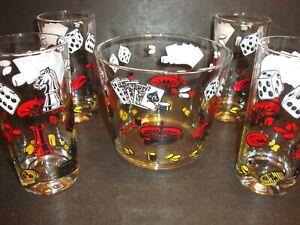 Vtg POKER GLASSES & ICE BUCKET Barware Casino Playing Cards Tumblers Set of 4