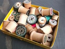 Lot of 35 Vintage Wooden Spools of Thread  several empty Sewing Crafts