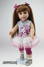 Reborn Doll 18 inch Realistic Silicone Reborn Baby Long Hair Doll with Bowknot
