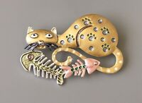 Adorable  artistic Cat with fish skeleton Pin Brooch enamel on Metal