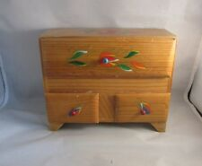 Vtg 1950's hand crafted wood chest jewelry box. Hand painted with red flowers