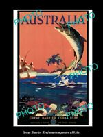 OLD 8x6 HISTORIC PHOTO OF 1930s AUSTRALIAN GREAT BARRIER REEF FISHING POSTER