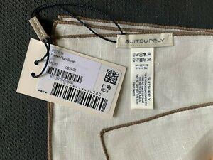 NWT Suitsupply Pocket Square Plain w/ Brown Trim 100% Linen (PS19111)
