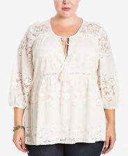 PRETTY LOVE ON A HANGER WOMEN'S IVORY 3/4 SLEEVE LACE LINED FRONT TOP PLUS Sz 1X