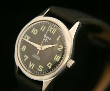 Vintage 1970's men's restored all steel HMT  Parashock 17J military wristwatch