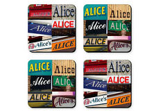 Personalized Coasters featuring the name AMY in photos of signs - Set of 4