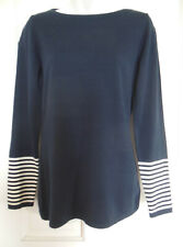 Nautica blue long sleeves sailor sweater arm stripes gold shoulder buttons M NWT