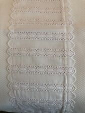 """WHITE COTTON PIQUE~WHITE EMBROIDERED EYELET TRIM~TWIN BED COVERLET~NEW~66""""x88"""""""
