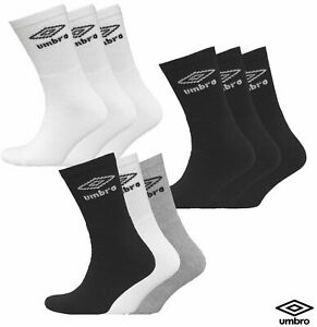 3,6,12 Pack Mens White, Black, Mix Umbro Sports Cotton Rich Socks Size: UK 6-11