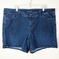 Maurices Women's Plus 24 Dark Wash Stretchy Flat Pockets Mid Rise Jean Shorts