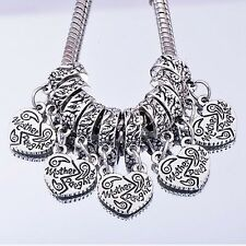 "5Pcs Silver Plated European Dangle Charms Beads""Mother&Daughter""For Bracelets"