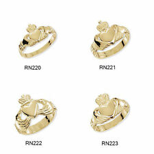 Markenlose Ringe ohne Steine im Claddagh-Stil aus Gelbgold mit echtem Edelmetall