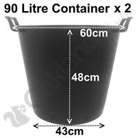 2 x 35 Litre Plant Tree Pot With Handles Heavy Duty 35L Lt Big Large Plastic