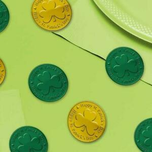 St Patricks Day Green & Gold Plastic Coins Table Confetti Sprinkles (100 bag)