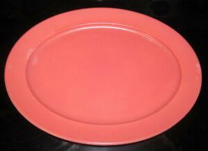 """Hazel Atlas Ovide Fired On Pink Oval Platter 9.25"""" x 12"""" Moderntone"""