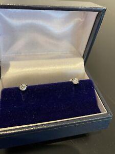F/VS 0.40+ Carat Round Diamond Stud Earrings, UK Hallmarked Platinum