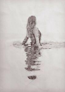 Swimming woman pencil drawing, original artwork unique gift (print)