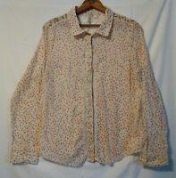 LC Lauren Conrad Women's Size Large Floral Lace Button Down Shirt Blouse Cotton