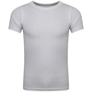 Boys Girls Children Kids Thermal Short Sleeve Vest White CHARCOAL   Age 2-15