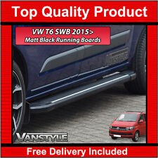 VW T6 SIDE STEPS SWB BLACK TRANSPORTER RUNNING BOARD SIDE BARS 2015> CARAVELLE
