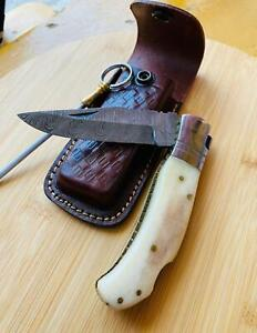 Pocket Damascus Knife Hunting Fishing Hiking Survival blade camping steel pouch