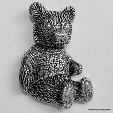 Teddy Bear Pewter Pin Brooch -British Hand Crafted- Stuffed Bear Toy