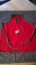 Kinderschürze mit Latz Neckholder hinten zu binden rot mit Rudolph-Motiv