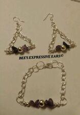 💎Amethyst Gemstone set Bracelet & matching earrings -By BEE'S EXPRESSIVE EARS
