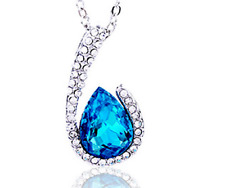 Fashion Womens Drop Blue Crystal Rhinestone Silver Chain Pendant Necklace NEW