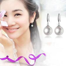 Women Eardrop Silver Plated Ear Studs Hook Earring 10mm Natural Pearls Dangle