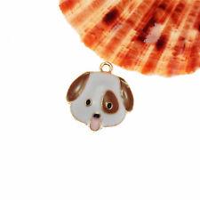 Lot of 5 Cute Dog Head Look Enamel Metal Charm Necklace Pendant Findings 20x22mm