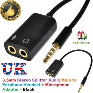 3.5mm Audio Headset Mic Y Splitter Cable Adapter TRRS to 2 TRS For PCs, Laptops