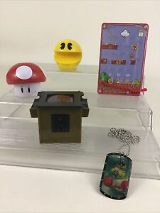 Video Game Toys 5pc Mixed Lot Pac Man Super Mario Bros Bowser Dog Tags Nintendo