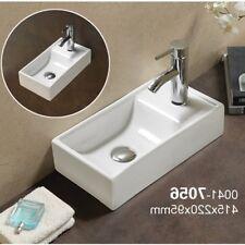 Square Small Mini Cloakroom Bathroom Basin Sink Wall Hung Right Hand 415x22cm