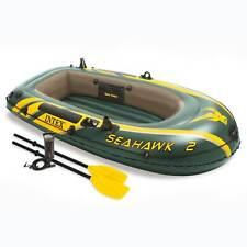 Intex Seahawk 2 Inflatable 2 Person Floating Boat Raft Set Oars, Air Pump (Used)