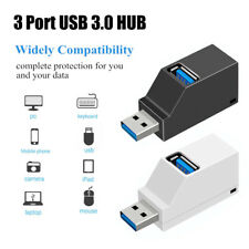 Concentrador USB Mini USB 3.0 de alta velocidad Divisor Caja Adaptador Para Laptop Macbook 3 puertos