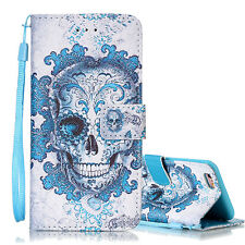New Fashion Painted Leather Wallet Case Magnetic Flip Cover w/ Strap for iPhone
