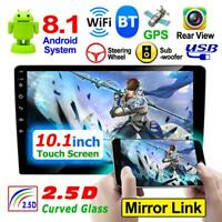 10.in 2Din Quad Core Android 8.1 GPS Navi WiFi Car Stereo MP5 Player AM FM Radio